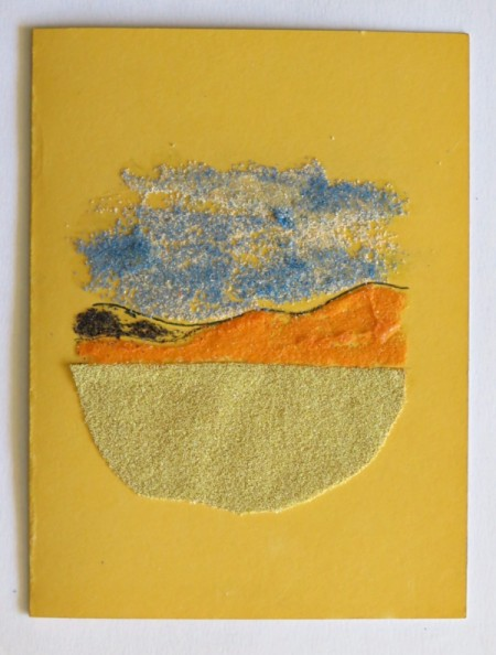 Desert Inspired Birthday Card - sky created with glue and blue and white sand