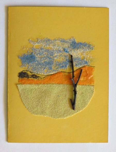 Desert Inspired Birthday Card - twig tree glued on