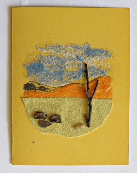 Desert Inspired Birthday Card - small pebbles and bits of bark added