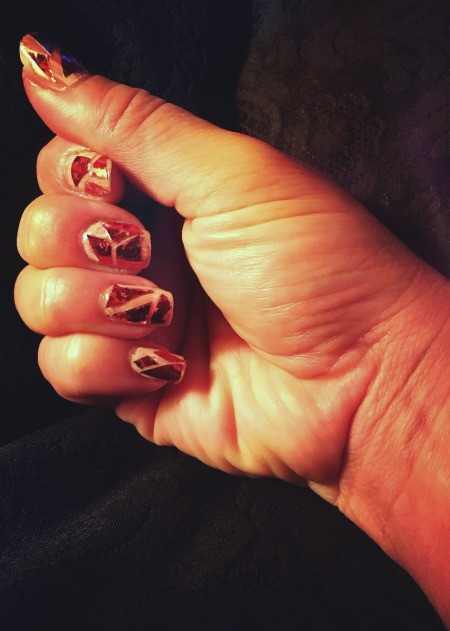 Broken Glass Geometric Nail Art