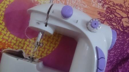closeup of mini sewing machine
