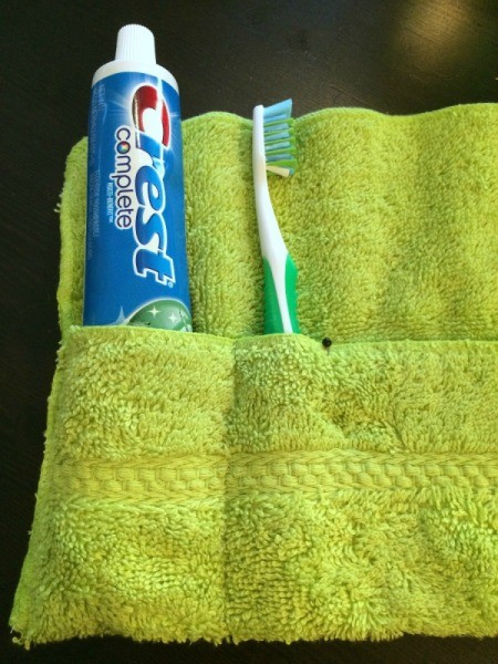 Washcloth Travel Toothbrush Holder - measure and pin for toothbrush pocket size