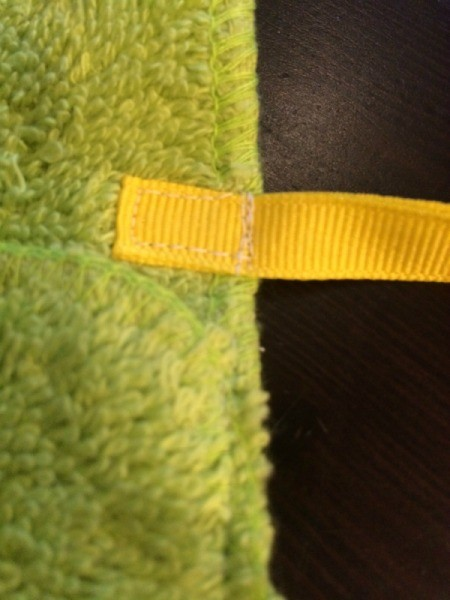 Washcloth Travel Toothbrush Holder - closeup of sewn tie
