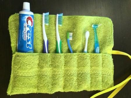 Washcloth Travel Toothbrush Holder - paste and brushes inside the holder