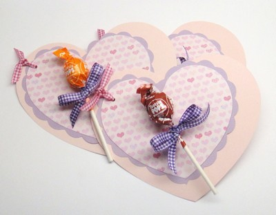 Lollipop Heart Cards - heart shaped cards with lollipops on front