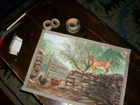 Fabric Tape Mat for Paintings or Photos - tape added