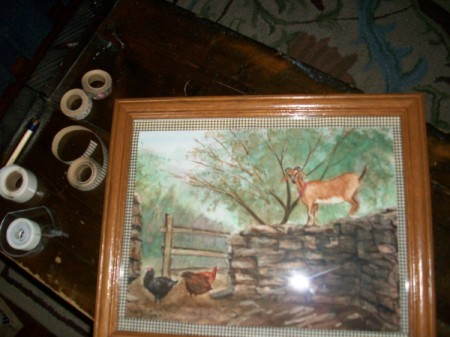 Fabric Tape Mat for Paintings or Photos - finished framing job