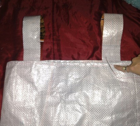 sew both handles onto the tote
