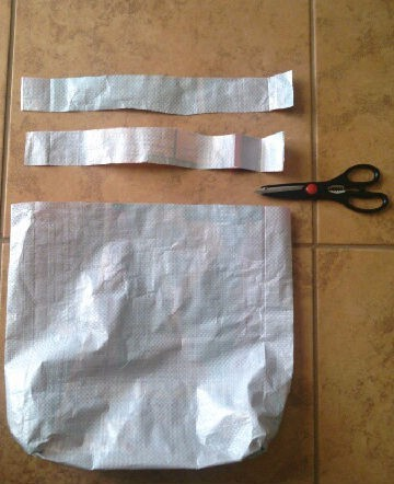 cut circular strip into two equal pieces to make the handles for the dog food bag tote