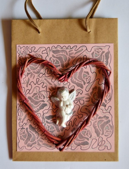 Cupid's Love Gift Bag - twig heart and cupid added