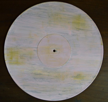 Love You Madly Vinyl Record Underplate - add aged areas using green ink stamp