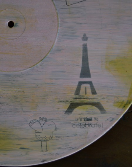 Love You Madly Vinyl Record Underplate   - use black ink and a stencil to add Eiffel Tower to plate