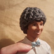 Ken wearing a crochet hat