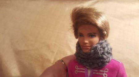 Crochet Cowl for a Ken Doll - Ken wearing a cowl scarf