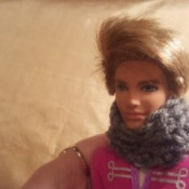 Crochet Cowl for a Ken Doll - Ken wearing a cowl scarf