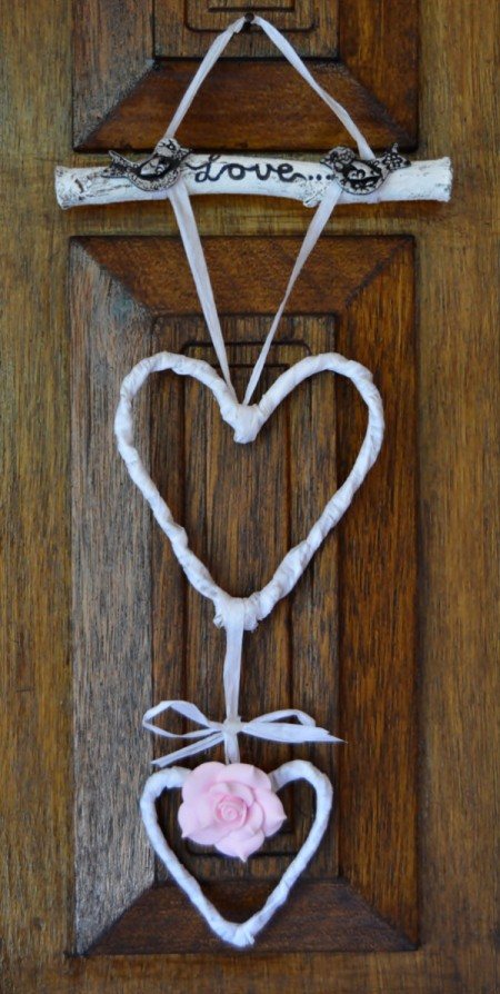 finished heart hanging decor