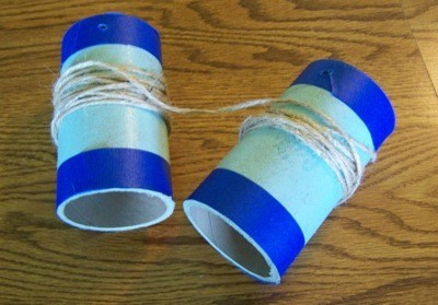 Three Easy Crafts For Boys - walkie talkie from toilet paper tubes