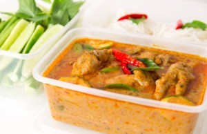 Thai food in a plastic container