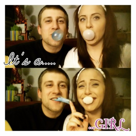 couple with pink and blue bubble gum
