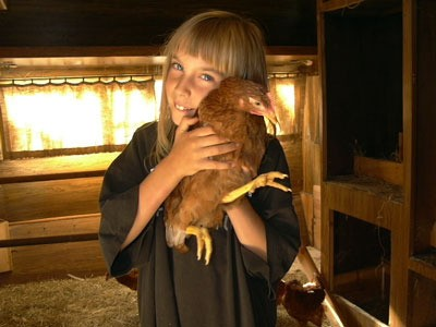girl with chicken