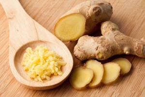 ginger root, slices, and grated