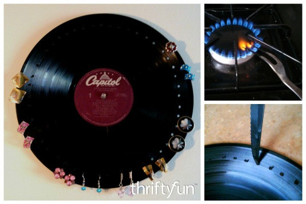 Making a vinyl record earrings display thriftyfun for What to do with old vinyl records