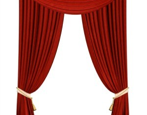 Red tieback curtains on a white background