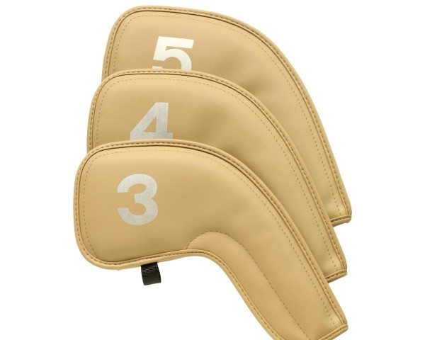 Three Tan Leather Golf Club Covers Against White Background Are Labelled 3 4 Finding A Permanent Marker