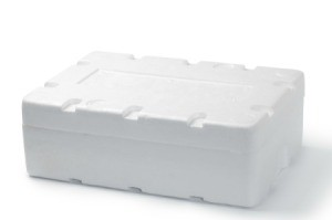 White Styrofoam box on a white background