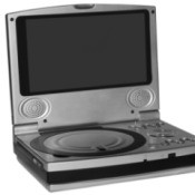 Silver portable DVD Player with LCD screen against a white background