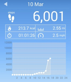 A pedometer showing 6001 steps.