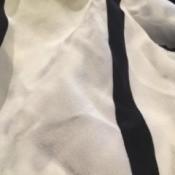 white shirt with black stripes