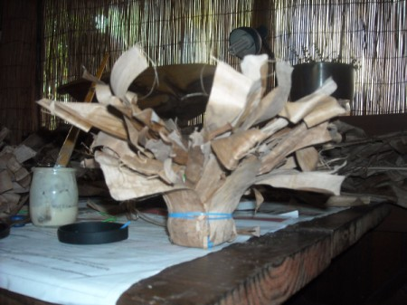 Dried Banana Leaves Candleholder