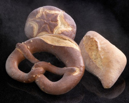 Frozen pretzel, round bread(boule), and square bread.