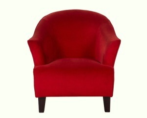 Red fabric Club Chair against white background