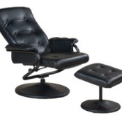 Black Leather swivel recliner and ottoman against white background
