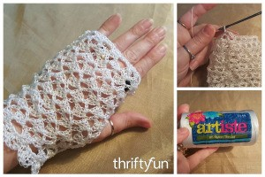 Making Crochet Lace Gloves