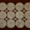 Vintage crochet placemat against red background