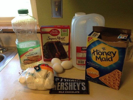 The ingredients for s'mores cupcakes.