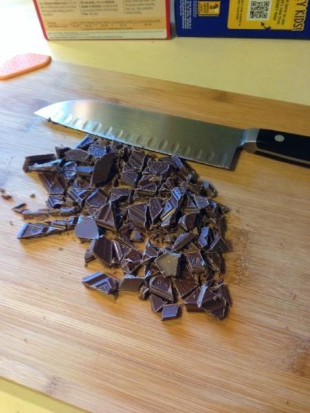 Chopped chocolate bars.