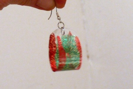 red and green decorated plastic bottle earrings
