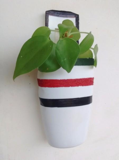 Upcycled shampoo bottle planter