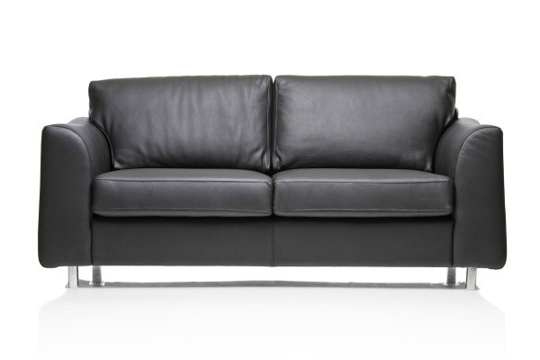 Exceptionnel Black Leather Couch On A White Background
