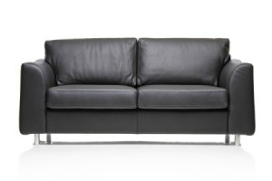 black leather couch on a white background