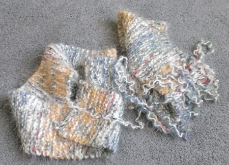 A muffler being recycled for yarn.