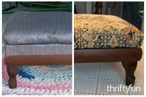 Reupholstering a Footstool
