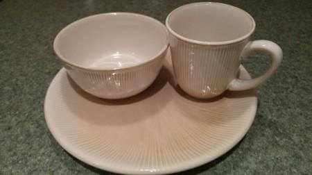 plate, bowl, and mug