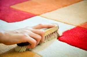 A scrub brush on a colorful rug.