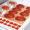 Ice cube tray, tart tins, and muffin tins filled with tomato paste