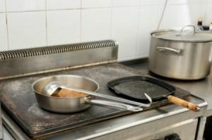 Commercial Kitchen Stovetop and tile backsplash